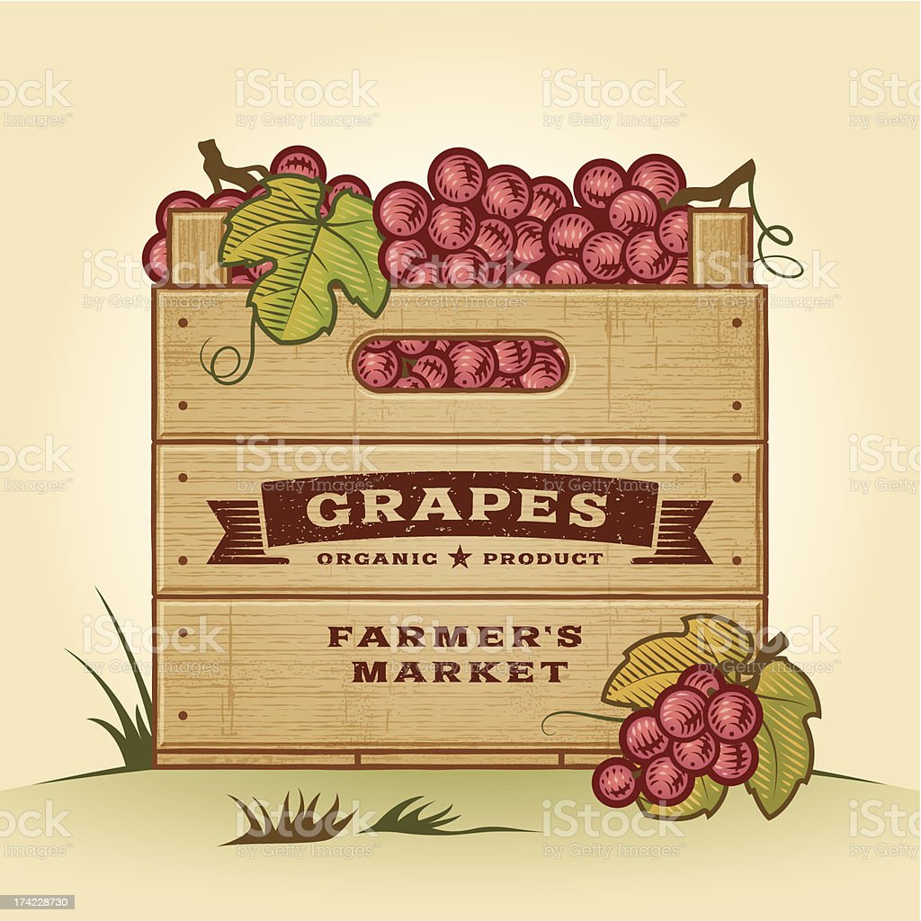 Retro crate of grapes royalty-free stock vector art