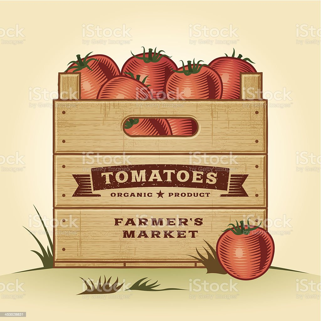 Retro crate of tomatoes royalty-free stock vector art