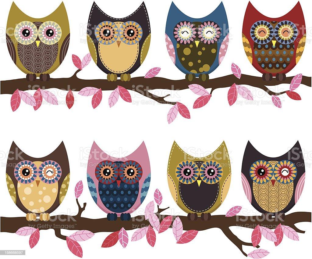 Retro Cute Owl royalty-free stock vector art