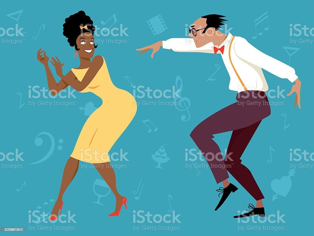 Retro dance party vector art illustration