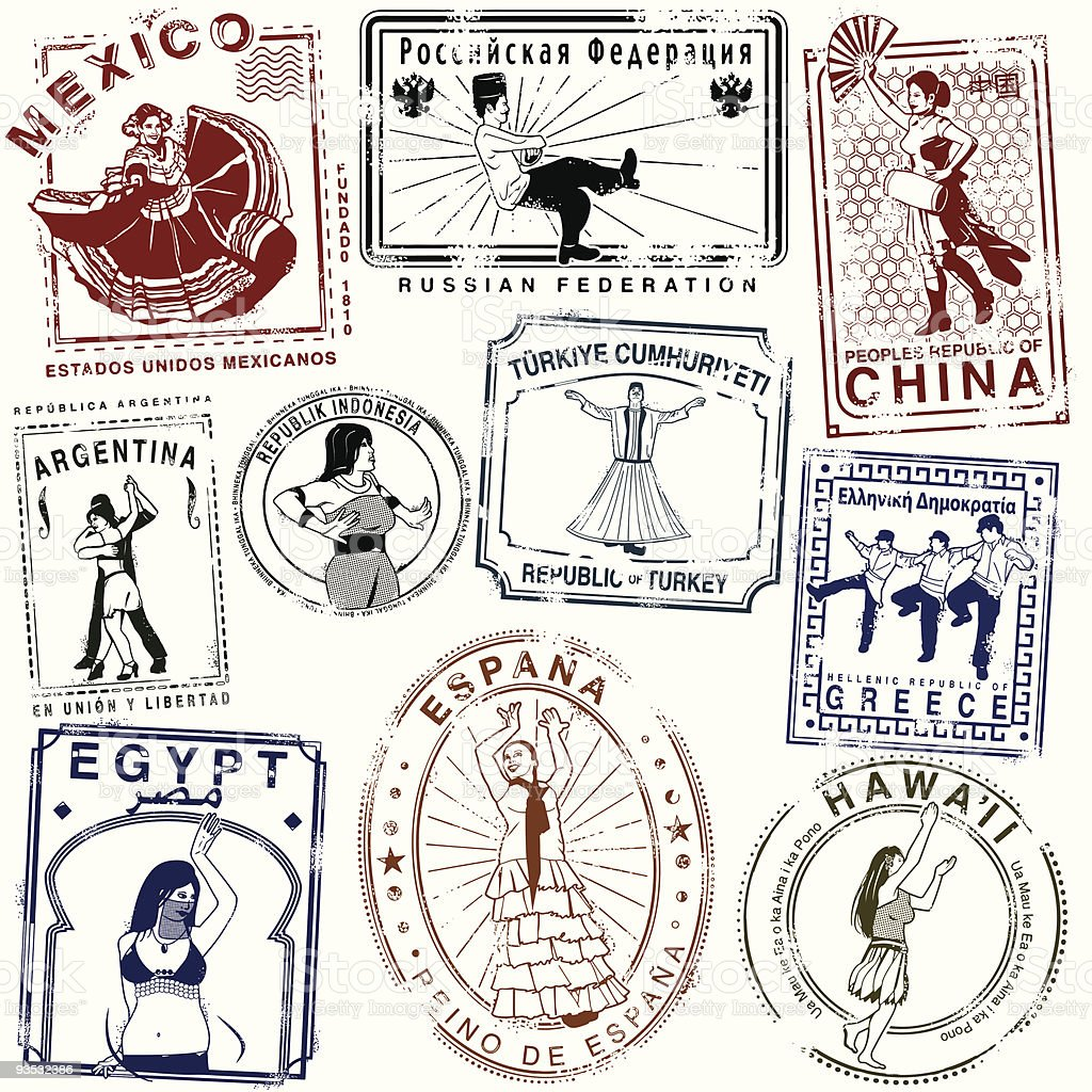 Retro Dance passport Stamps vector art illustration