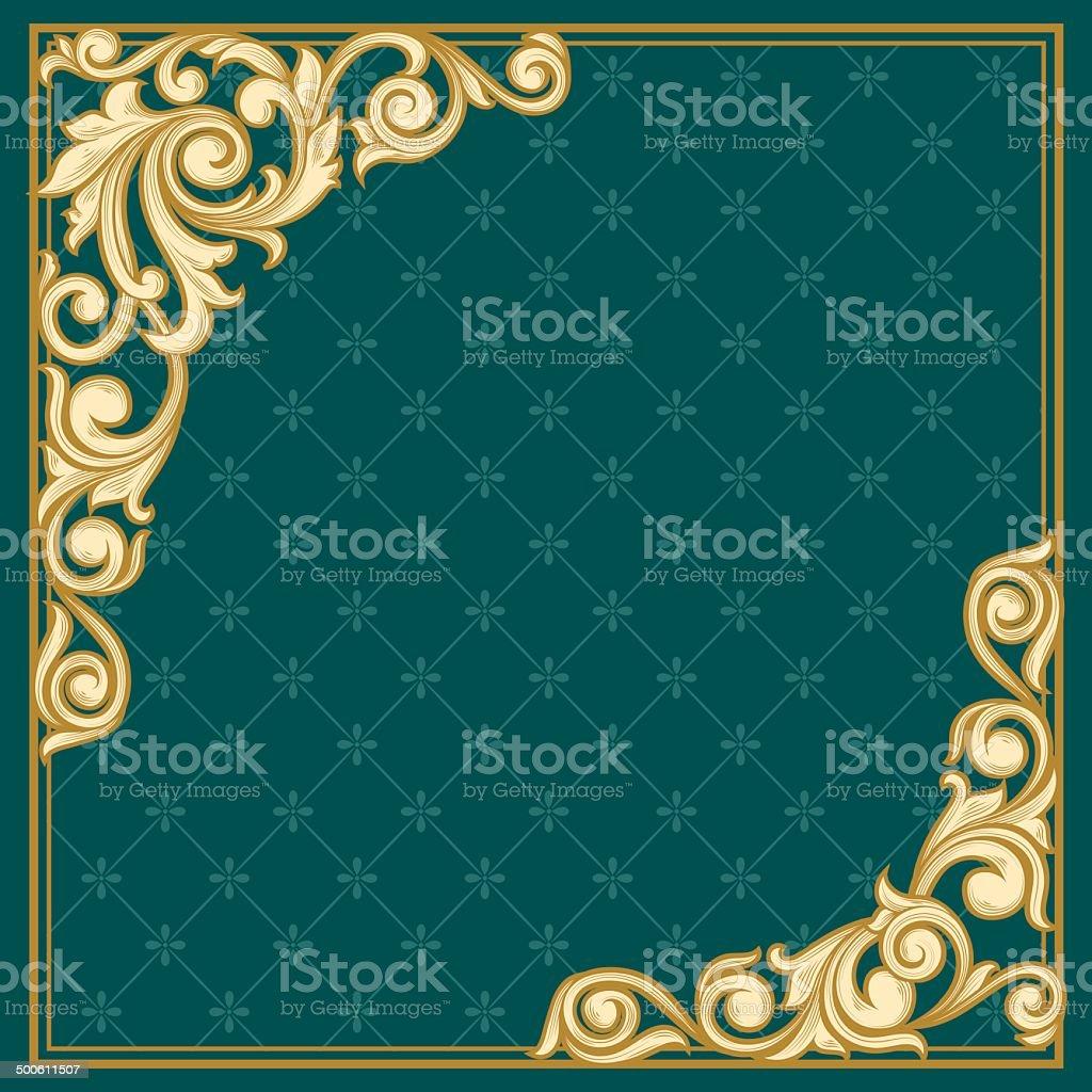 Retro decorative frame vector art illustration