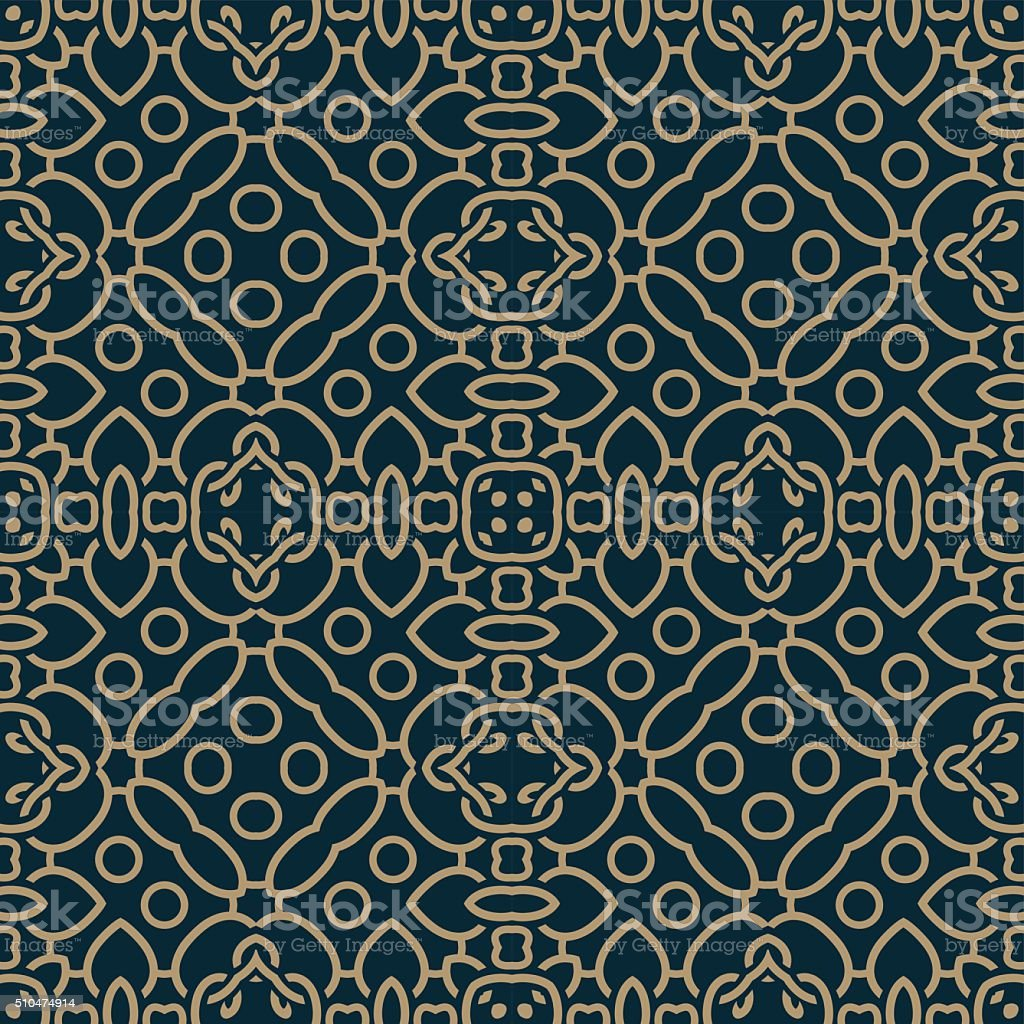 Retro Decorative Seamless Pattern Blue Brown vector art illustration