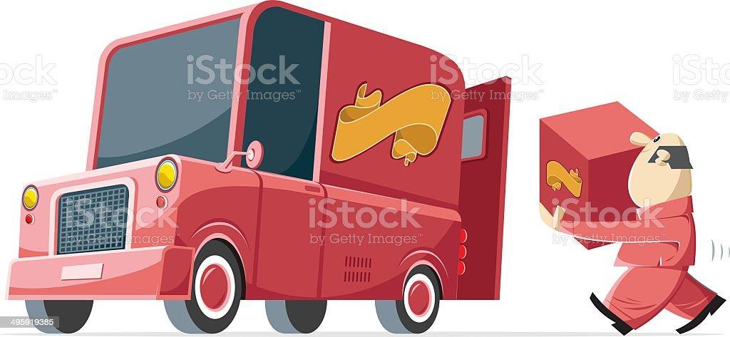retro delivery service vector art illustration