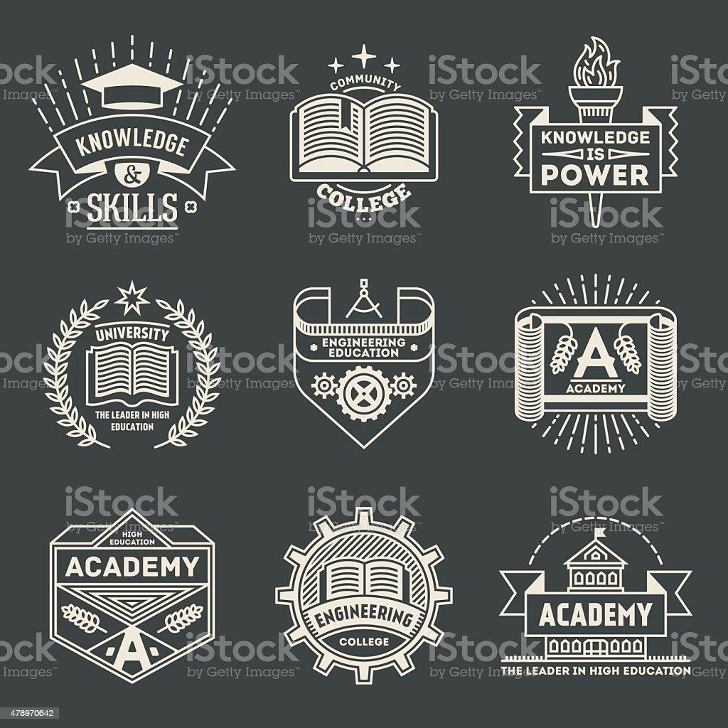 Retro design insignias high education logotypes set 2. vector art illustration