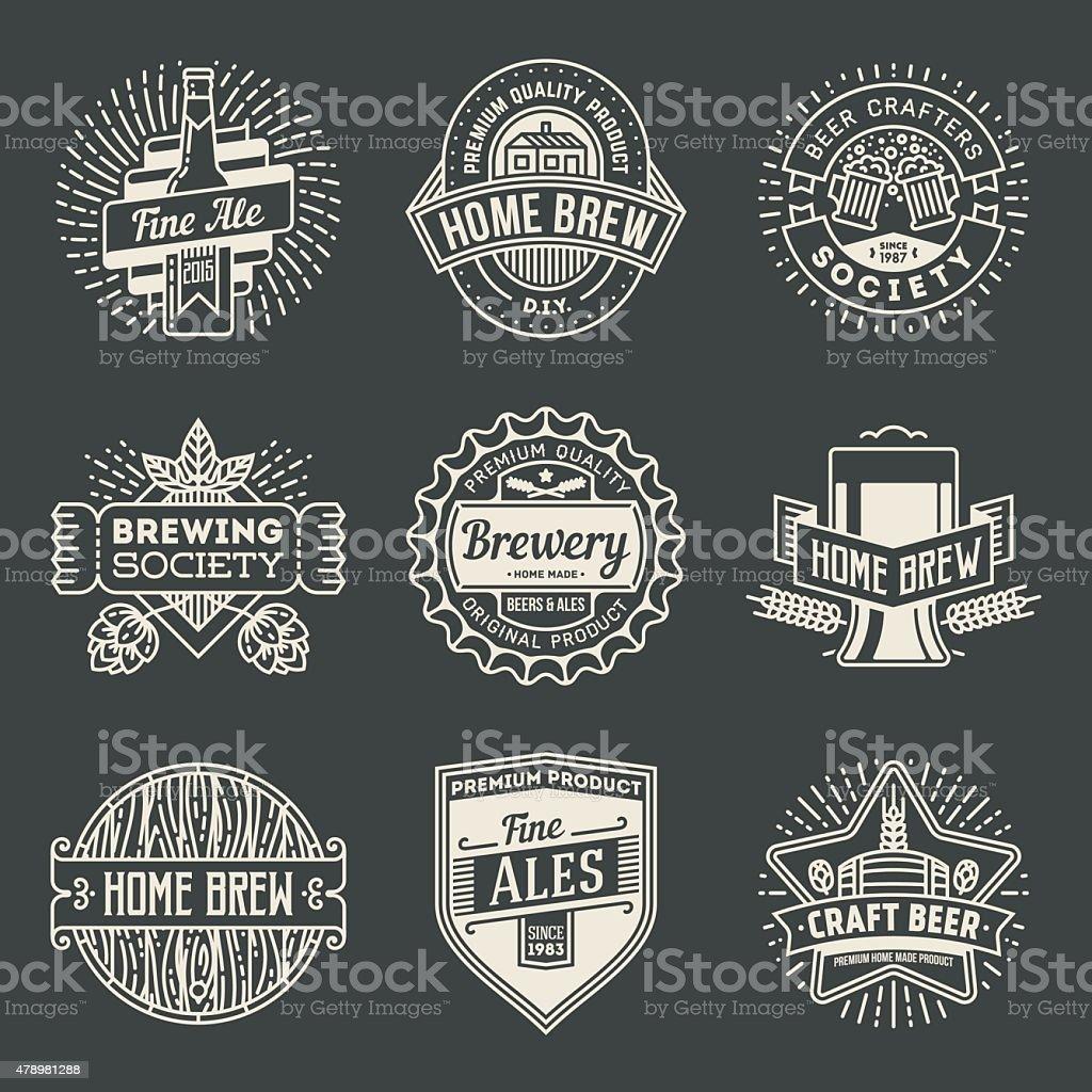 Retro design insignias logotypes home brewery set 2. vector art illustration