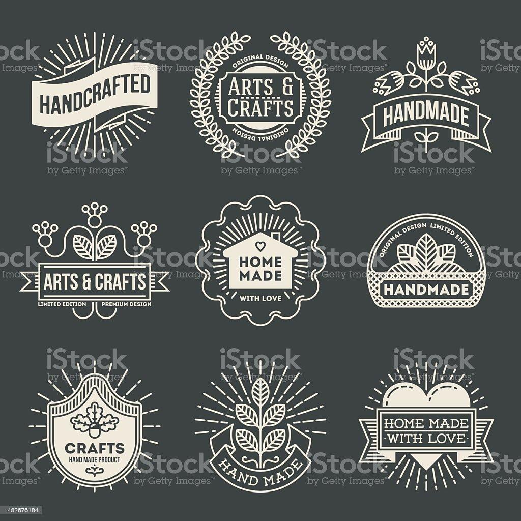 Retro design insignias logotypes set 12. Vector vintage elements. vector art illustration
