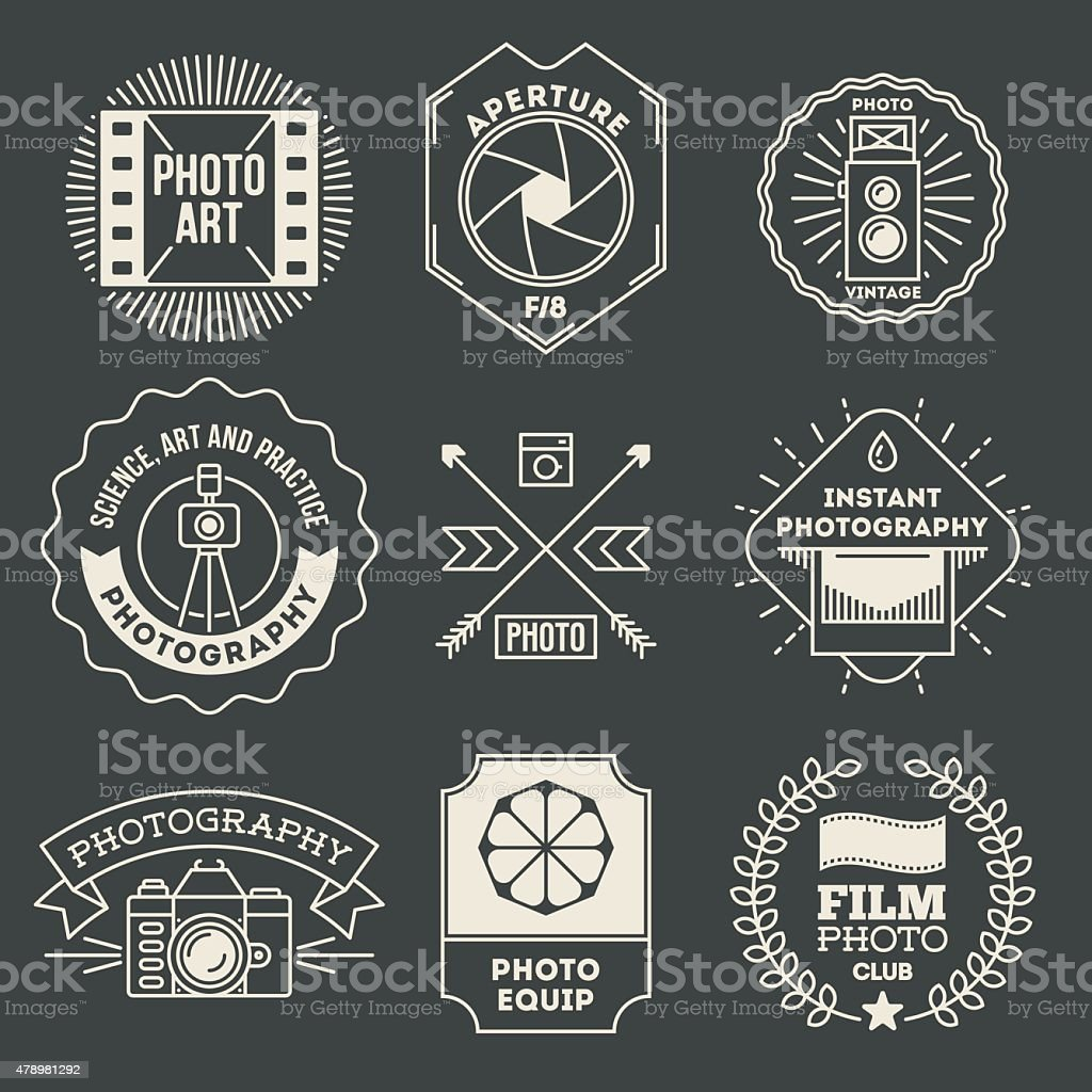 Retro design insignias photography logotypes set. vector art illustration
