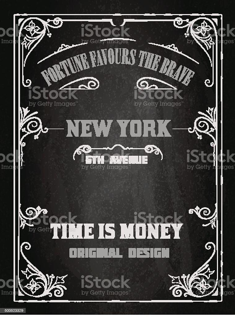 Retro design over black board vector art illustration