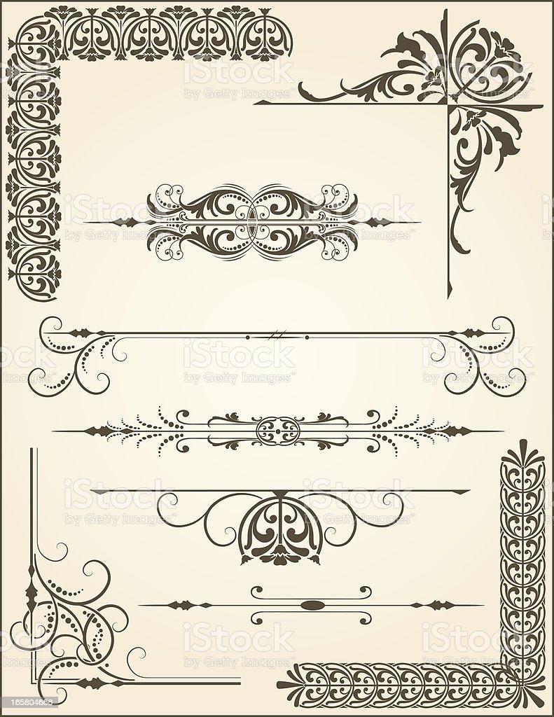 Retro Designer Floral Scroll Set royalty-free stock vector art
