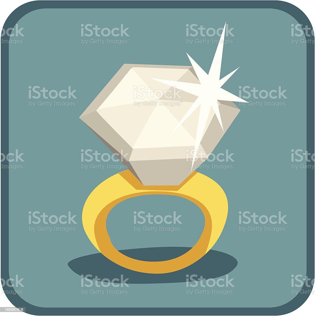 Retro Diamond Ring vector art illustration
