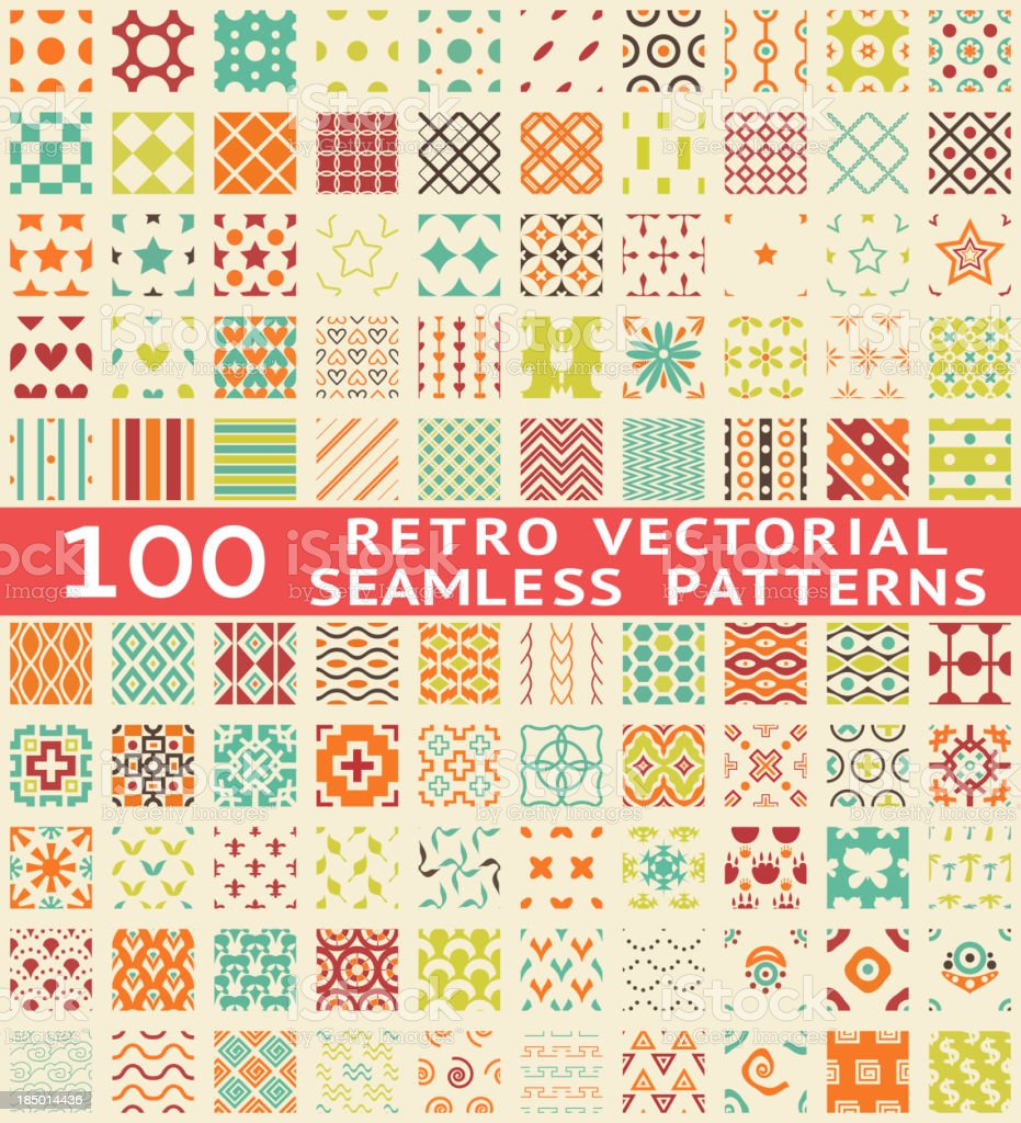Retro different vector seamless patterns (with swatch). vector art illustration
