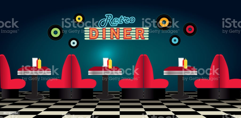 Retro diner restaurant panorama with booths signs and jukebox vector art illustration