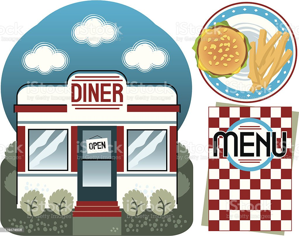 Retro Diner Set royalty-free stock vector art
