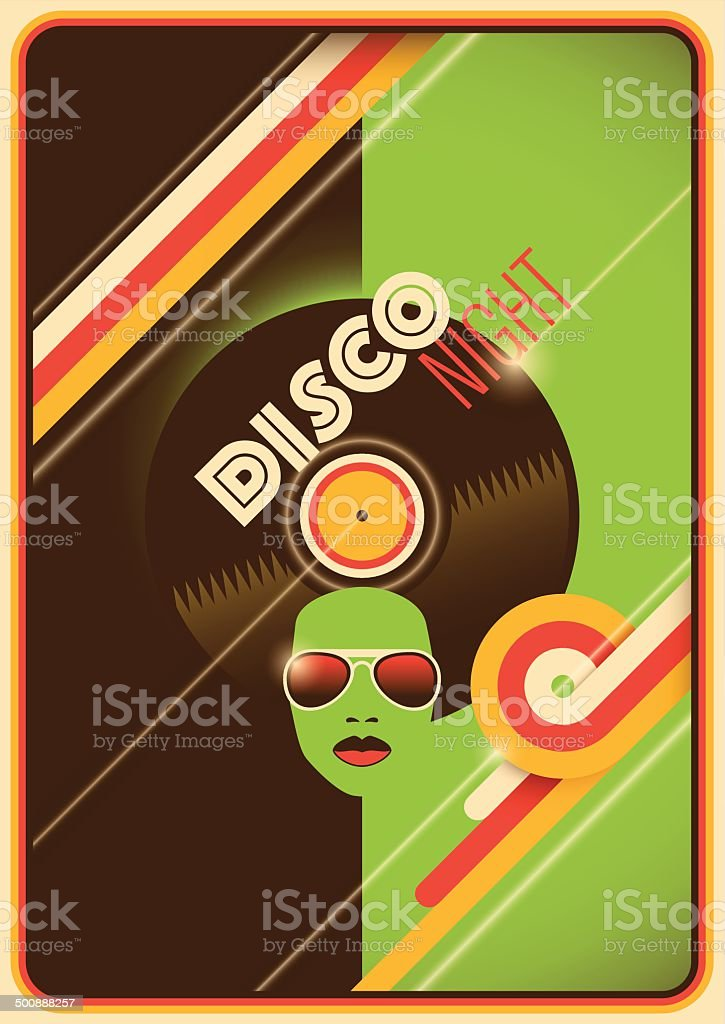 Retro disco night poster design. vector art illustration
