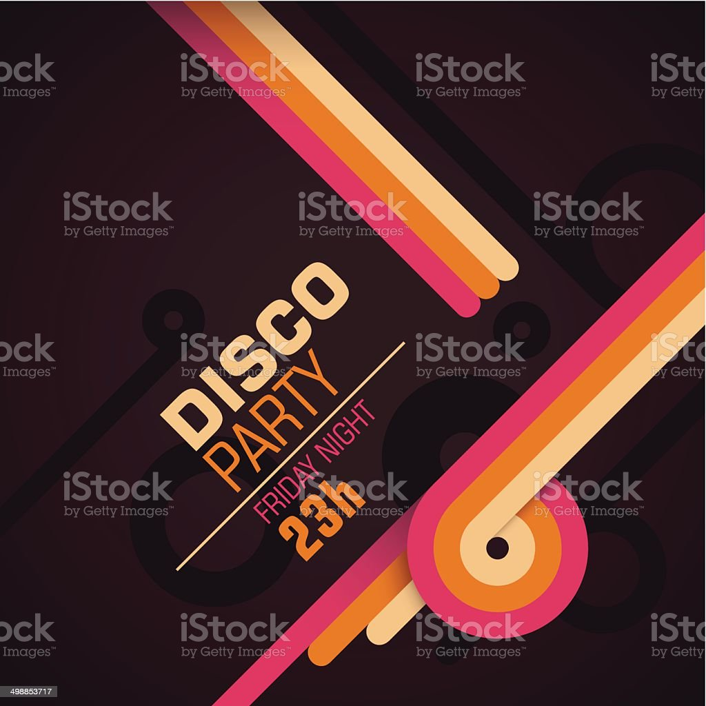 Retro disco party invitation card. vector art illustration