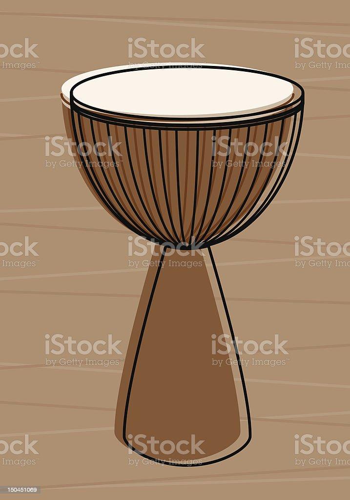 Retro Djembe vector art illustration