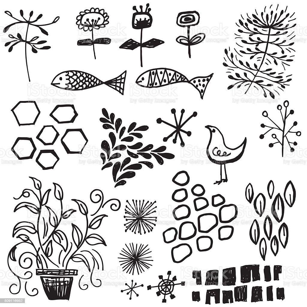 Retro Doodled decorative elements vector art illustration