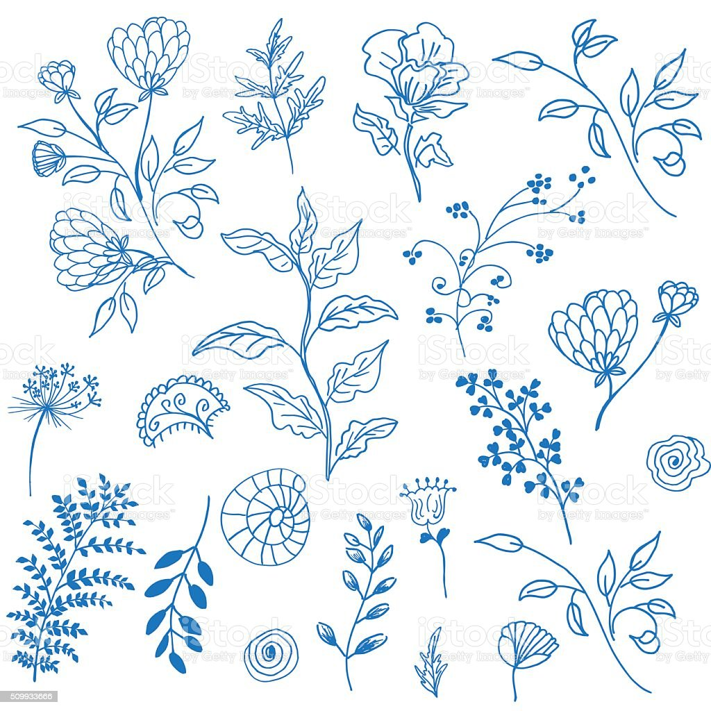 Retro Doodled decorative Plant Elements vector art illustration