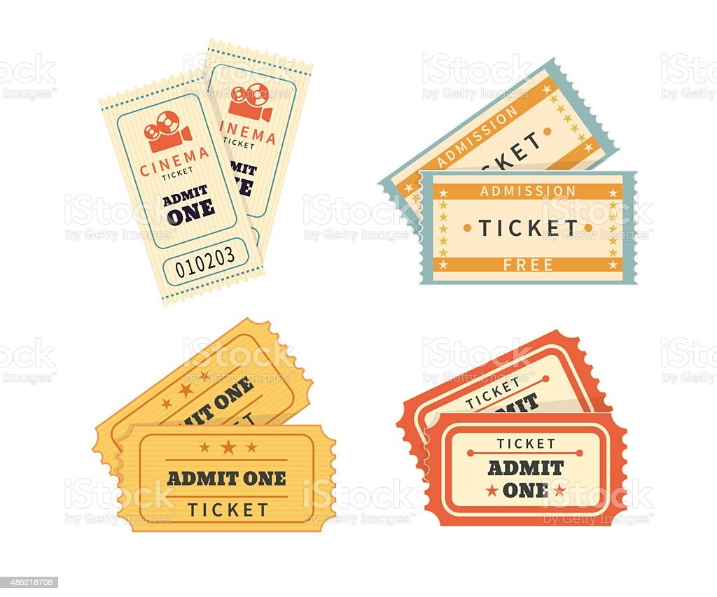 Retro double  tickets set vector art illustration
