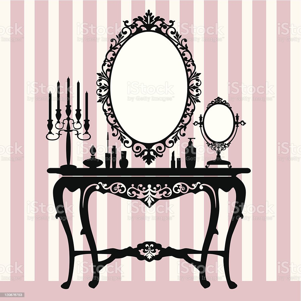 Retro dressing console, candelabra and mirror vector art illustration