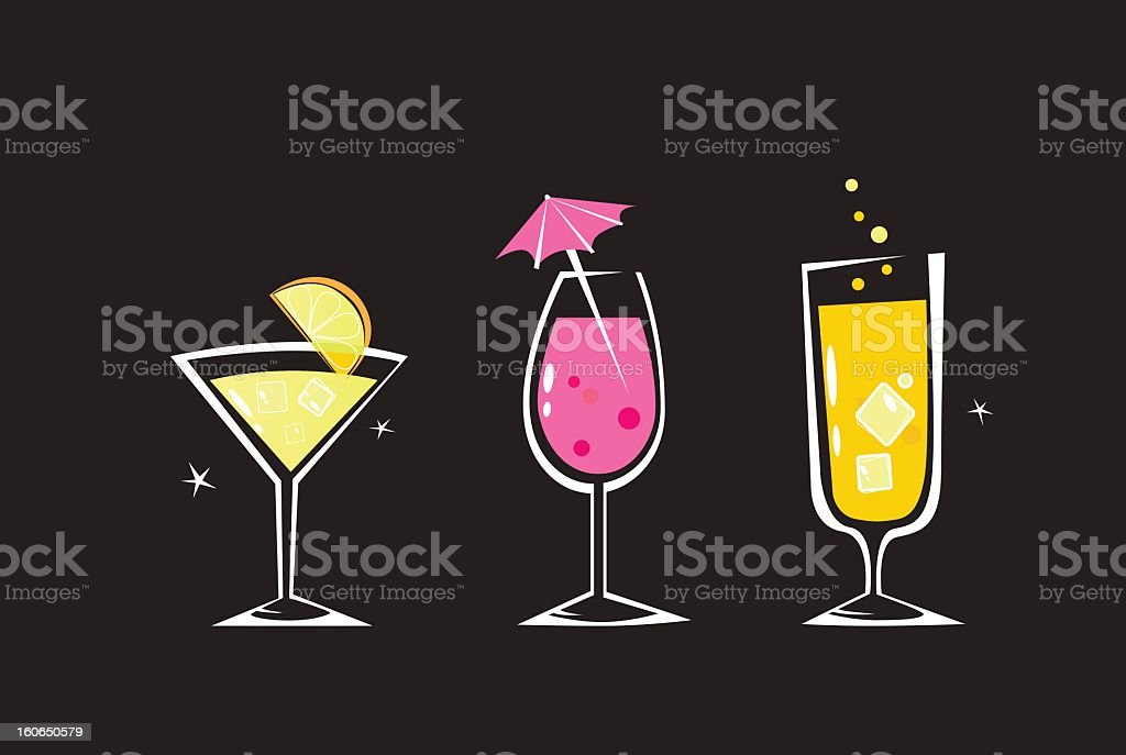 Retro drinks collection isolated on black background royalty-free stock vector art
