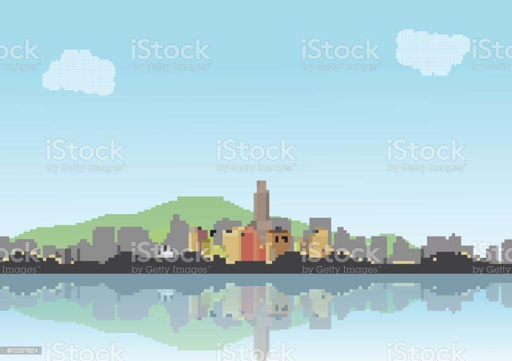 Retro Eight Bit City Skyline with Reflections Background - Vector Illustration vector art illustration