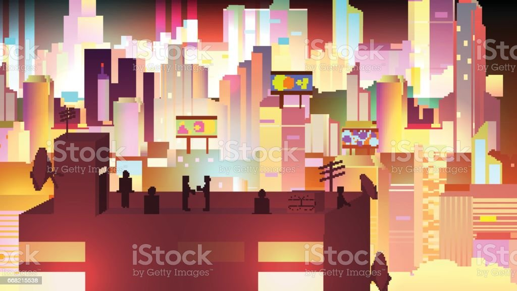 Retro Eight Bit Urban Neon Cityscape scene with Building Silhouettes, Towers and Rooftop Party - Vector Illustration vector art illustration
