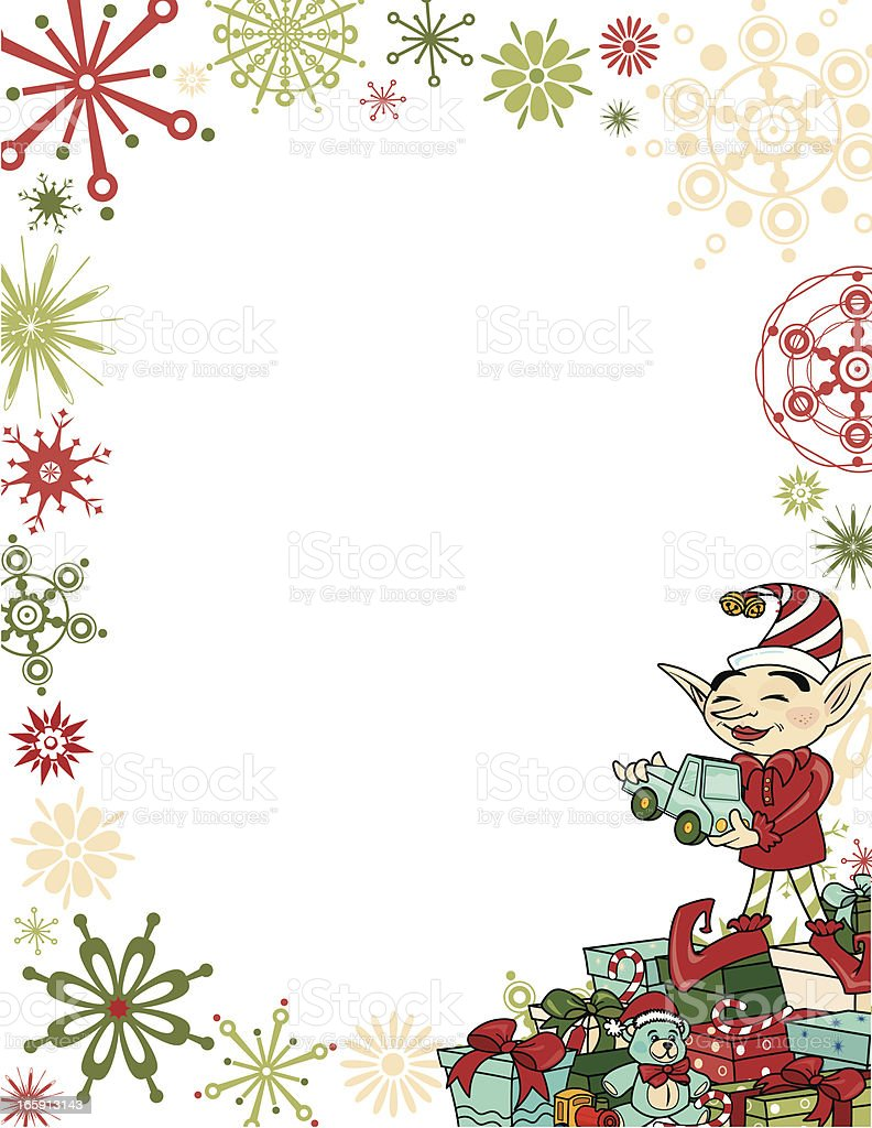 Retro Elf with Frame royalty-free stock vector art