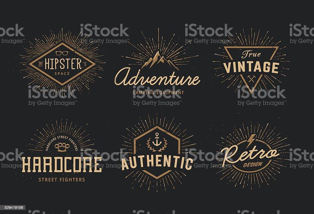Retro Emblems Set vector art illustration