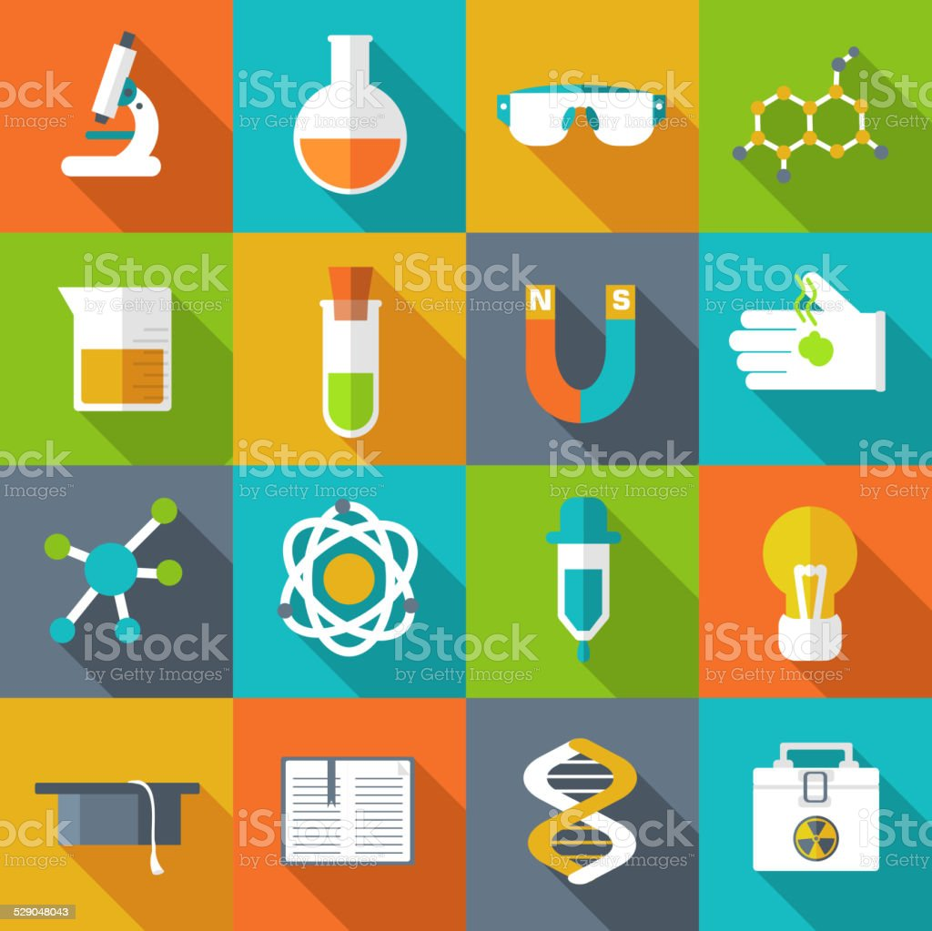 Retro experiments in a science chemistry laboratory icon concept vector art illustration