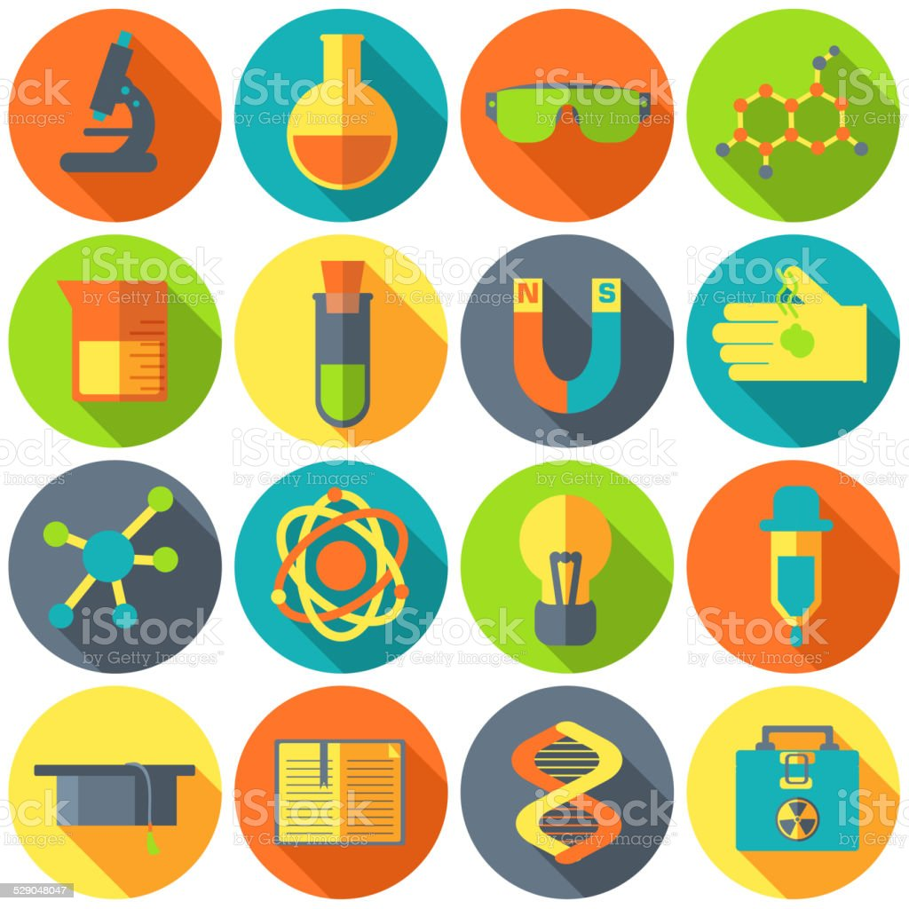 Retro experiments in a science chemistry laboratory icon concept vector art illustration