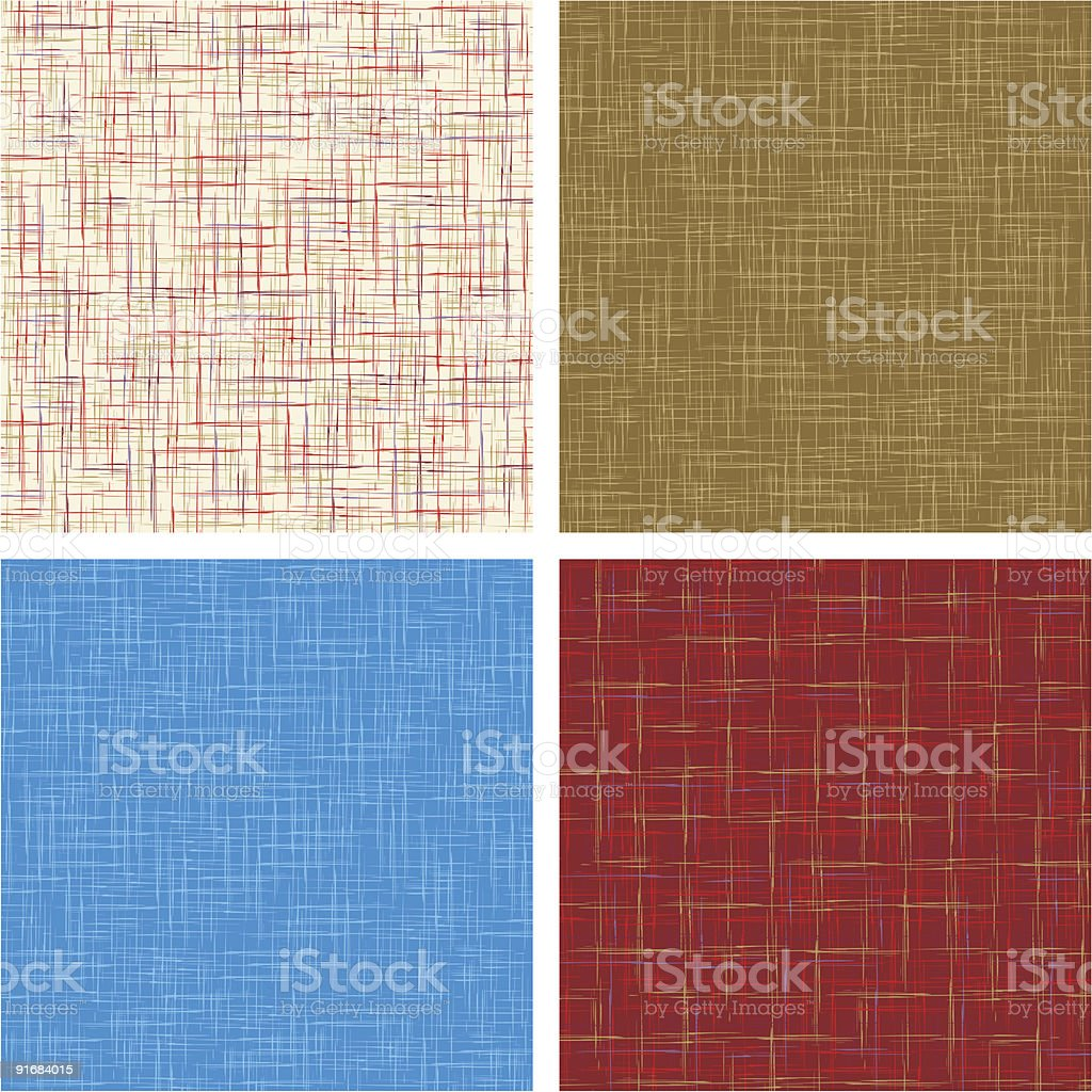 Retro fabric textures, four color sets royalty-free stock vector art
