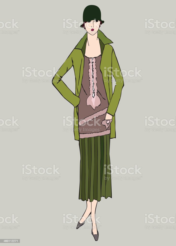 Retro fashion dressed woman. 1920s - 1930s style. Vector set royalty-free stock vector art