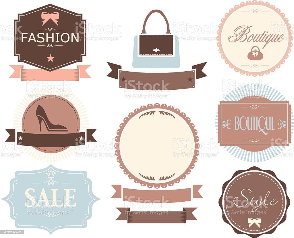 Retro Fashion Labels vector art illustration