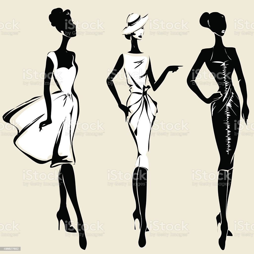 Retro fashion models in sketch style vector art illustration