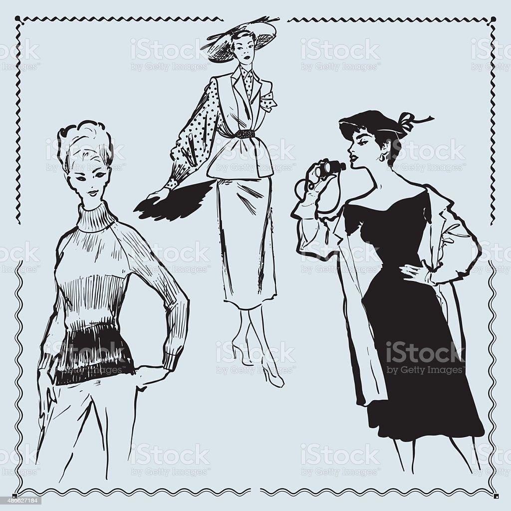 Retro Fashion Models vector art illustration