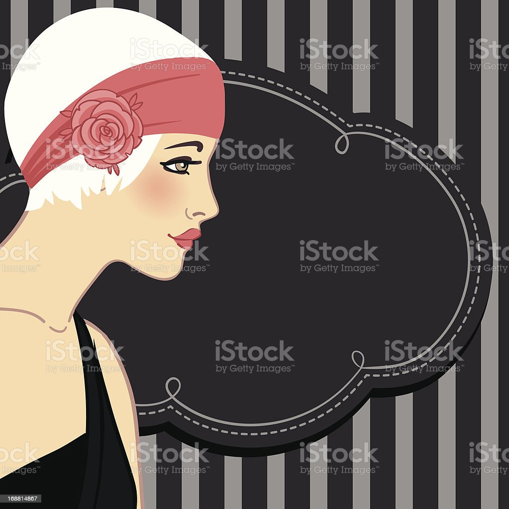 Retro fashion party (20's style) design: flapper girl's profile royalty-free stock vector art