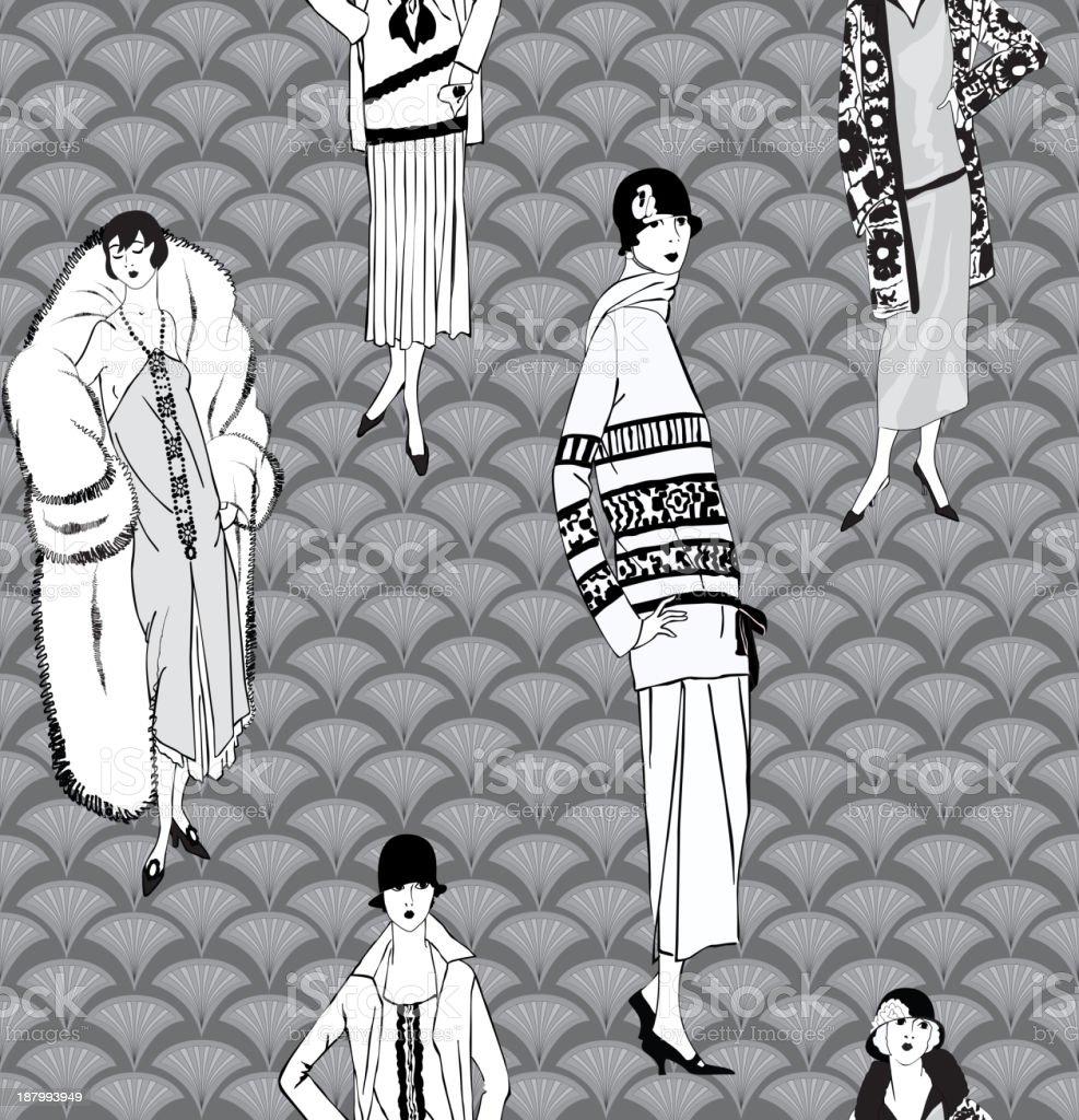 Retro female fashion seamless background royalty-free stock vector art