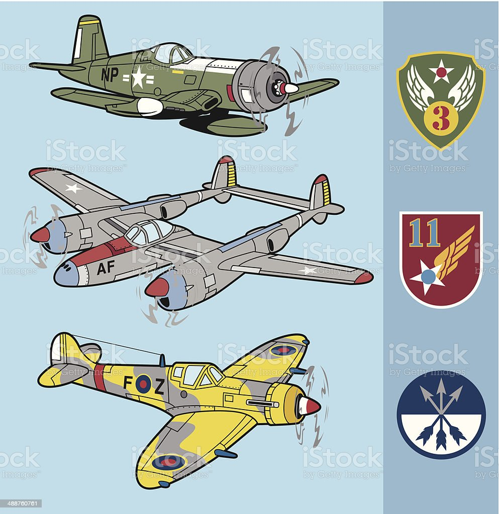 Retro fighter planes set 2 vector art illustration