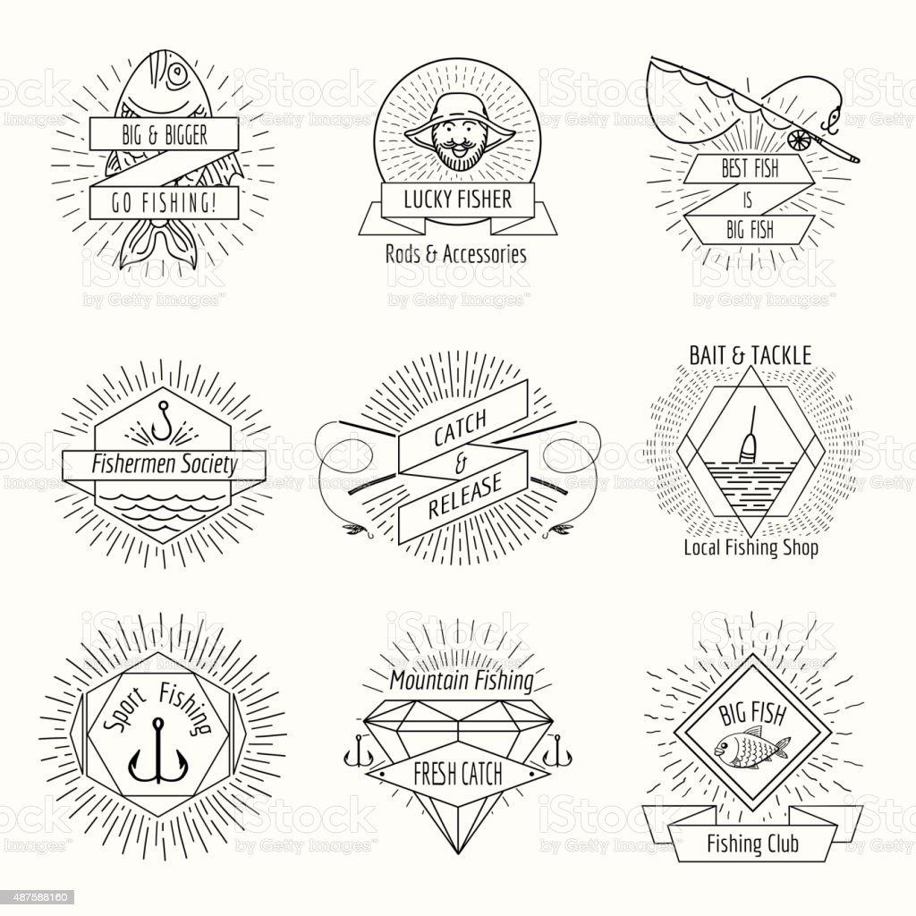 Retro fishing logo or labels set vector art illustration