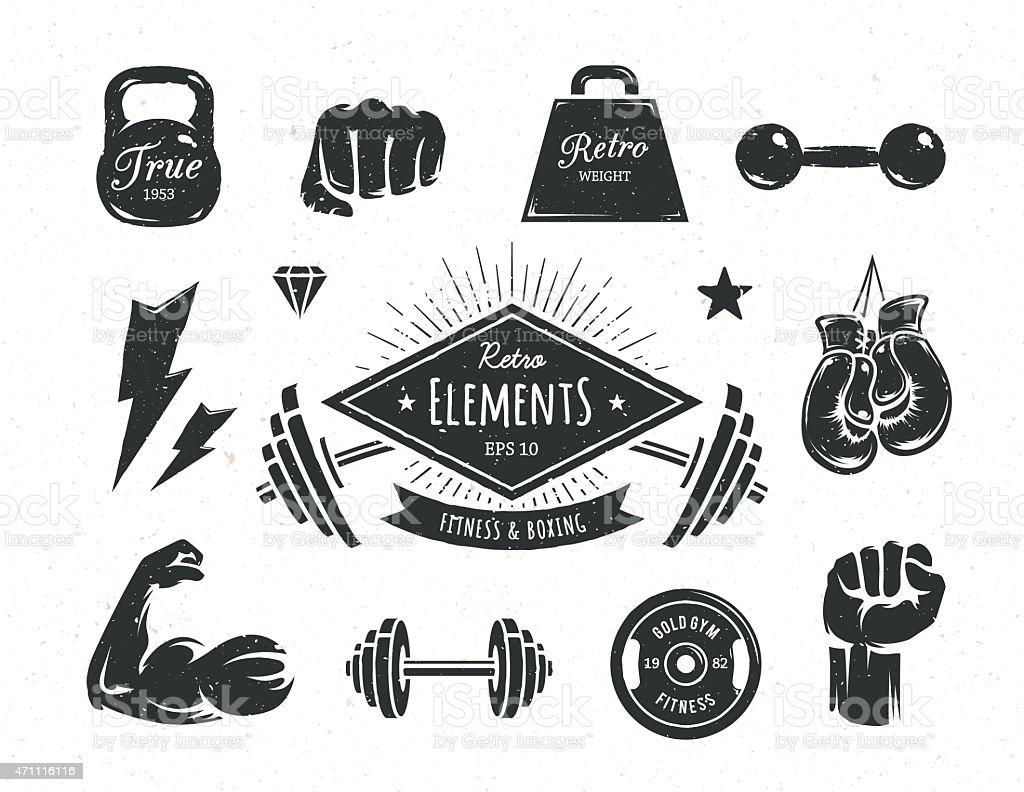 Retro Fitness Elements vector art illustration