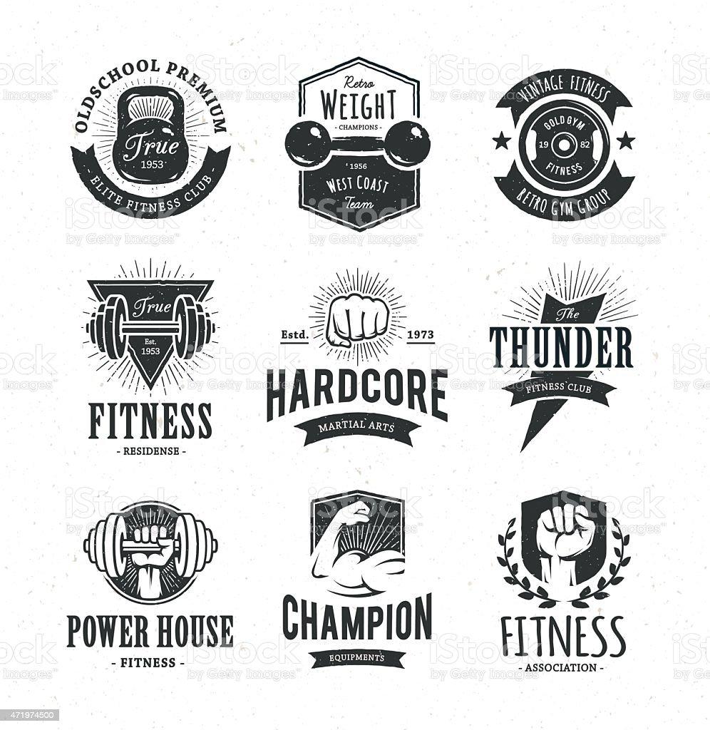 Retro Fitness Emblems vector art illustration