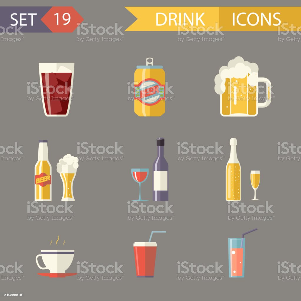 Retro Flat Alcohol Beer Juice Tea Wine Drink Icons and vector art illustration