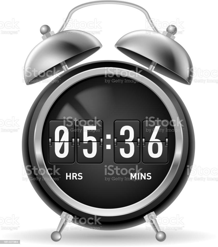 Retro flip alarm clock. royalty-free stock vector art