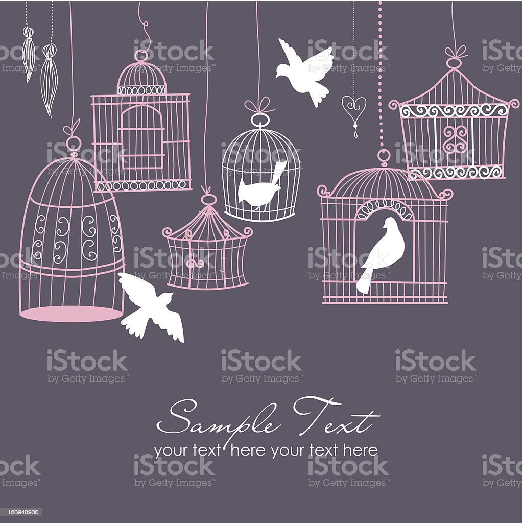 Retro Floral and Birdcage Design royalty-free stock vector art