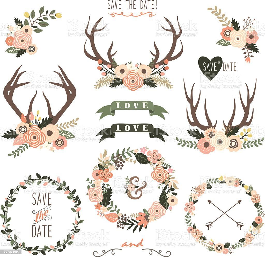 Retro Floral Antlers Collection Illustration stock vector ...