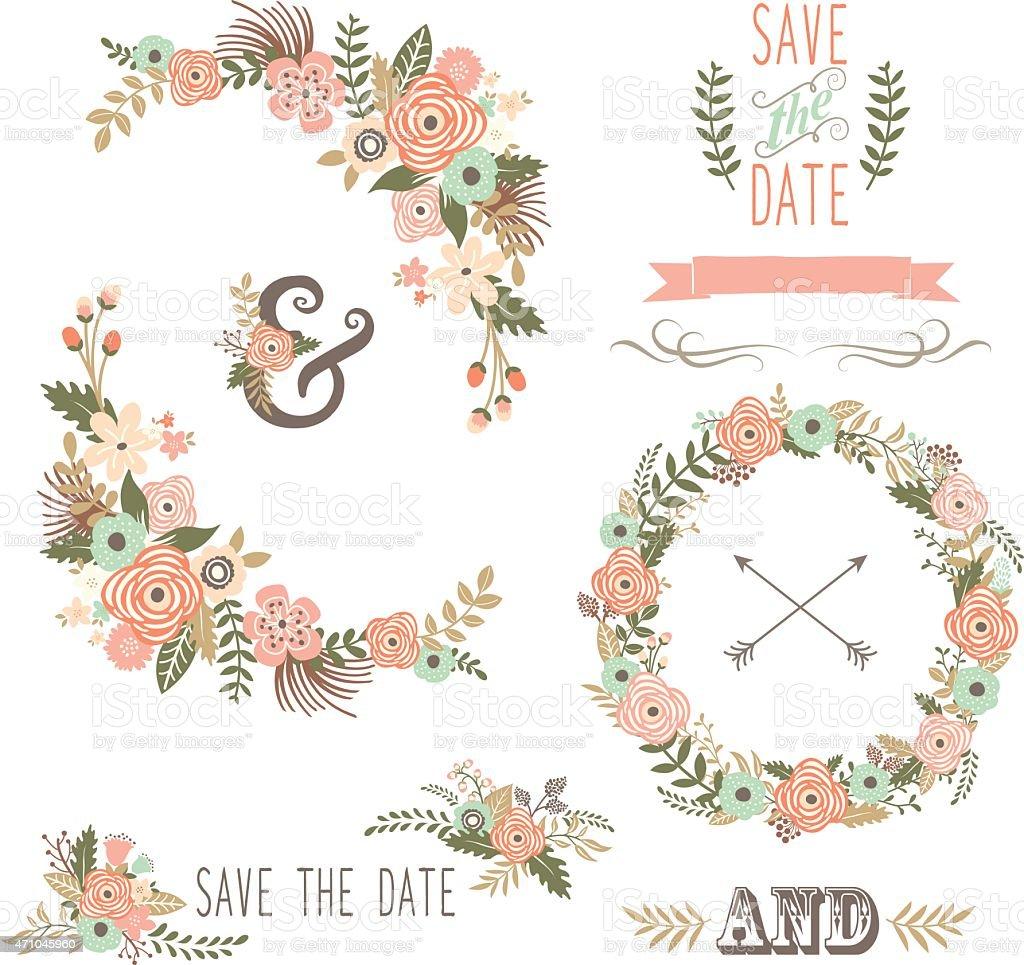 Retro Floral Elements- illustration vector art illustration