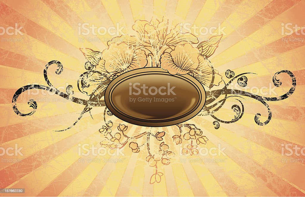 Retro Floral Oval Frame royalty-free stock vector art