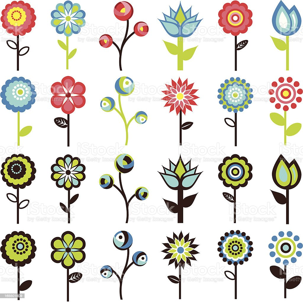 Retro Flowers stock vector art 165501509   iStock